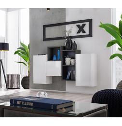 Ensemble de rangement mural - Blox SB III - 4 rangements verticaux - Blanc et noir