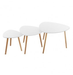 Lot de 3 tables à café - Mileo - Blanc