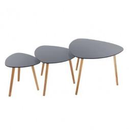 Lot de 3 tables à café - Mileo - Gris
