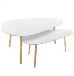 Lot de 2 tables à café - Mileo - Blanc