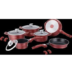 Set de 4 casseroles et 2 poêles avec revêtement en marbre - Tailles différentes - Rouge