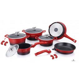 Set de 4 casseroles et 2 poêles avec revêtement en marbre - Tailles différentes - Rouge et Noir