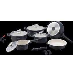 Set de 4 casseroles et 2 poêles avec revêtement en céramique - Tailles différentes - Noir