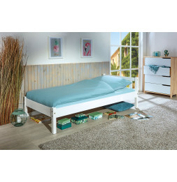 Lit simple Vilmar en pin massif - L 210 x l 98 x H 70 cm - Blanc