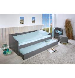 Lit banquette simple Malte avec tiroir lit - L 208 x l 97 x H 62 cm - Gris