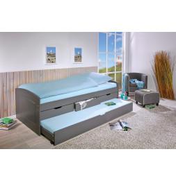 Lit simple à tiroirs Malte - 3 tiroirs de rangement et un tiroir lit - L 205 x l 98 x H 63 cm - Gris