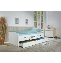 Lit à tiroirs - 4 tiroirs dont 1 tiroir lit - L 205 x l 98 x 63 cm - Blanc