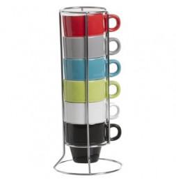 6 tasses Expresso sur rack - 17 x 8.20 cm - Céramique - Multicolore
