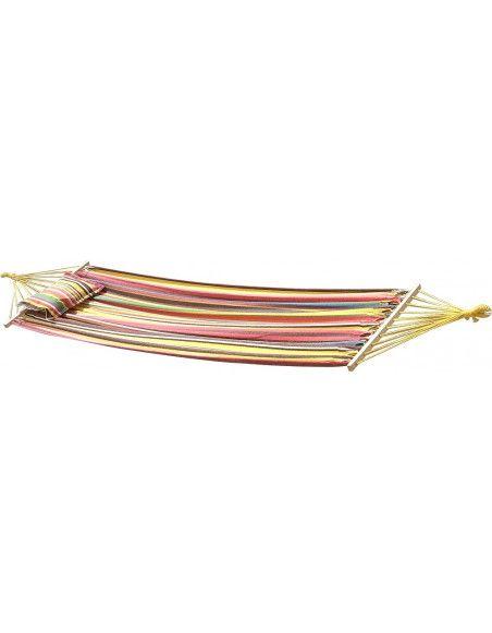Toile de hamac 200 x 100 cm avec support et cordages - Multicolore