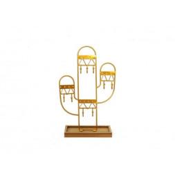 Porte bijoux Merida cactus - L 17,5 x l 6,5 x H 28,5 cm - Doré