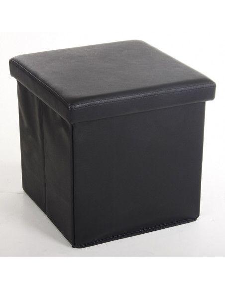 Pouf carré noir - Coffre de rangement pliable