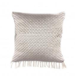 Coussin à franges ethnique - 40 x 40 cm - Blanc