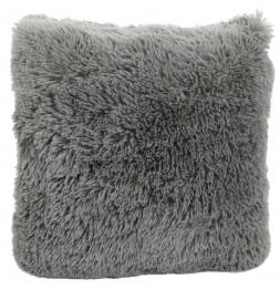 Coussin avec poils doux - 40 x 40 cm - Gris