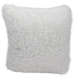Coussin avec poils doux - 40 x 40 cm - Blanc