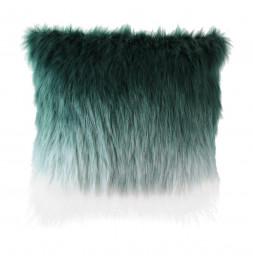 Coussin avec fausse fourrure - Tie and Die - 45 x 45 cm - Vert