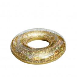 Bouée gonflable à paillettes dorées - D 91 cm