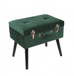 Banc avec coffre valise - Imitation velours - Vert