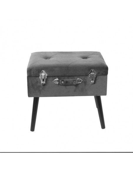 Banc avec coffre valise - Imitation velours - Gris