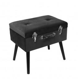 Banc avec coffre valise - Imitation velours - Noir