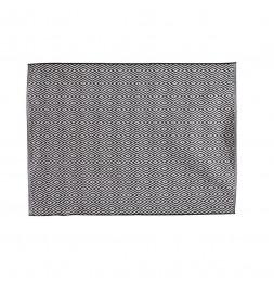 Grand tapis rectangulaire - 120 x 170 cm - Motifs losanges - Noir et blanc