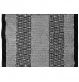 Tapis 140 x 200 cm - Motif à bandes - Noir et gris