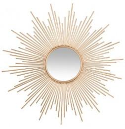 Miroir en forme de soleil - L 99 x l 3 x H 99 cm - Doré