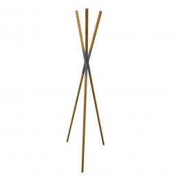 Porte manteaux en forme de tipi - D 56 x H 172 cm - Bois de pin et métal - Gris