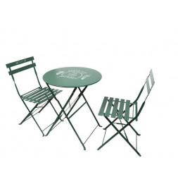 Table de jardin avec 2 chaises - Vert