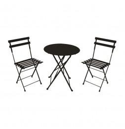 Table de jardin avec 2 chaises - Noir