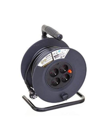 Rallonge électrique - Dérouleur 4 prises - Câble 25m - Noir