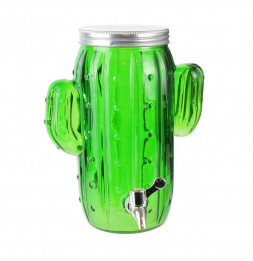 Fontaine à boisson 4 L- Design cactus - Verre - Vert