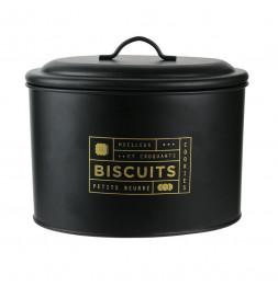 Boîte à biscuits imprimé doré - L 21 x l 14 x H 17 cm - Noir
