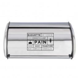 Boîte à pain en métal chromé - L 42,5 x l 27 x H 18,5 cm - Argenté