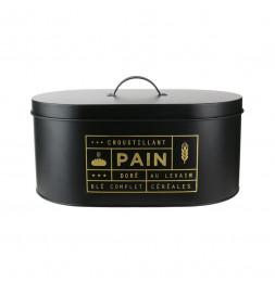 Boîte à pain en métal avec imprimés dorés - L 34,5 x l 20 x H 18,5 cm - Noir