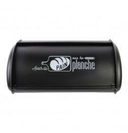 Boîte à pain en métal avec imprimés blancs - L 43.5 x l 26 x H 18,5 cm - Noir