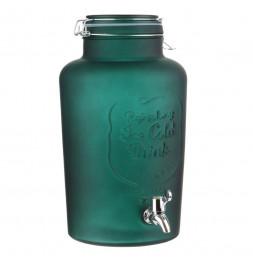 Fontaine à boisson en verre givré - 6 L - Vert
