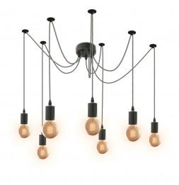Suspension luminaire araignée 7 ampoules - L 10 x l 10 x H 250 cm - Noir