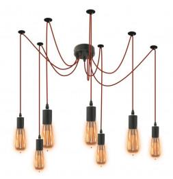 Suspension luminaire araignée 7 ampoules - L 10 x l 10 x H 250 cm - Rouge