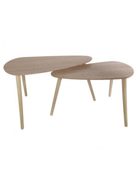Set de 2 tables gigognes en forme de galet - L 80 x l 40 x H 50 cm - Beige
