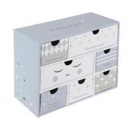 Boîte à souvenirs bébé 7 tiroirs - Bleu