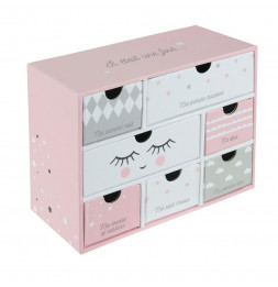 Boîtes à souvenirs bébé 7 tiroirs - Rose