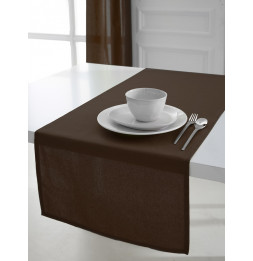 Chemin de table coton 50 x 150 cm - Marron - Linge de table