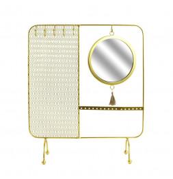 Porte bijoux avec miroir filaire - 35.5 x 30 cm - Doré