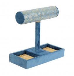 Porte bijoux - Velours bleu - 23 x 23.5 x 10 cm