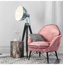 Lampadaire chromé sur trépied style industriel - L 66 x l 65 x H 150 cm - Noir
