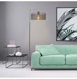 Lampadaire avec socle en marbre et abat-jour perforé - L 35 x l 30 x H 152 cm - Gris