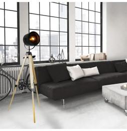 Lampadaire abat-jour noir sur trépied style industriel - L 20 x l 58 x H 145 cm - Beige
