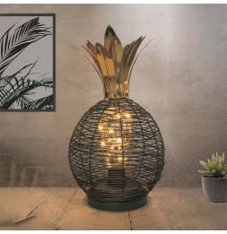 Lampe à poser à Led en forme d'ananas - L 15 x l 15 x H 27,5 cm - Noir et Doré