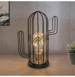Lampe à LED à poser en forme de cactus - L 17 x l 9 x H 22,5 cm - Noir