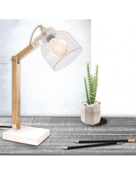 Lampe à poser abat-jour grillagé et bras articulé - L 26 x l 14 x H 38 cm - Blanc